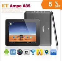 8inch Ampe A85 Dual Core tablet pc Android 4.1 5 point capacitive screen RK3066 8GB ROM 2.0MP Dual Cameras HDMI