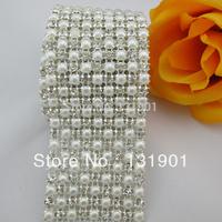 (FL104) 1yds 9 Rows Clear Crystal Rhinestone Mesh Faux Pearl Sewing Banding Trim Wedding