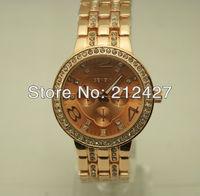 freeshipping 50pcs/lot new style quartz wristwatch Geneva brand alloy band with diamond and case,luxury ladies gift watch
