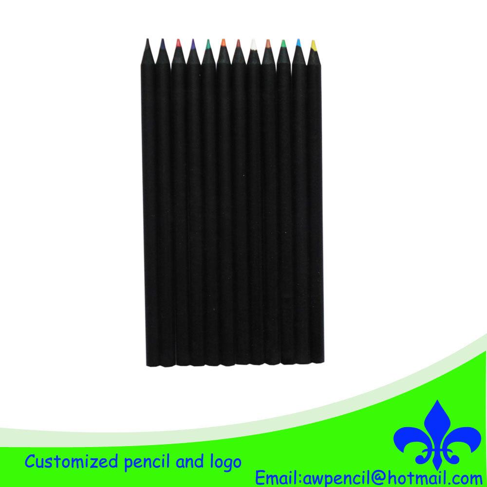 Customized long black wood color pencils,LH-083(China (Mainland))