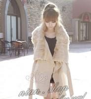 Free shipping winter coat women fur coat women rabbit fur woolen slim female outerwear beige colored overcoat
