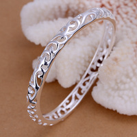 Free Shipping Lose money Promotion! Wholesale 925 silver bangle, 925 silver fashion jewelry, Closed Hollow Flower Bangle B156