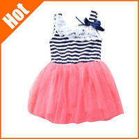 new 2014 summer fashion new baby girl ball gown dress lace+cotton material 3 colors age 0-2 girls dresses