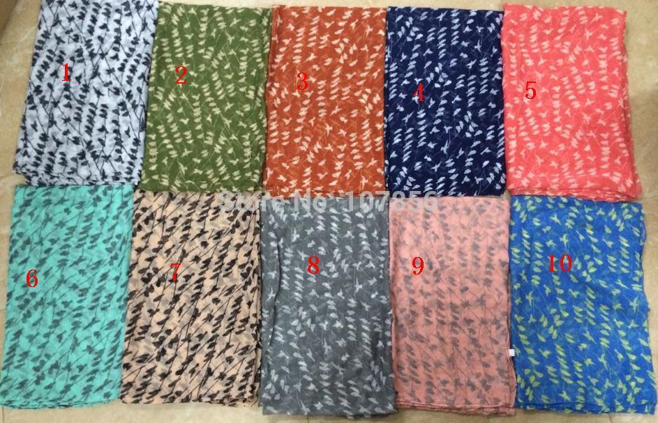 Free shipping ladies fashion bird print scarf big size scarf in mix colour(China (Mainland))