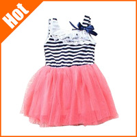 retail promotion hot selling baby girls sleeveless striped dress Mint Green white red color clothing for 0-2 years old kids