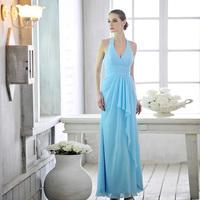 Free Shipping L1326 Bridesmaid Dress Fashion Halter Strap Long Pass Deep V Dress Toast Clothing Evening Dress