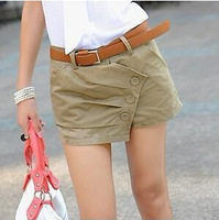 short women fashion Spring and summer hot-selling women's shorts 100% cotton shorts tooling  High waisted short causal cheap
