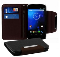 HK Post Free shipping For LG E960 Nexus 4 leather wallet fashion case stand cover with card holder