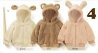 Retail Animal model coral fleece jackets three - layer cotton Velvet good quality baby winter coat, 1pcs LJ037