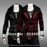 Fall winter fashion hooded sweater jacket Men's Hoodies, Sweatshirts 2 color Grey Red Size M L XL XXL N0167 Free Shipping