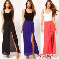 Sexy Hot Womens Open Side Split Dress Summer Solid Chiffon Long Maxi Skirt Boho