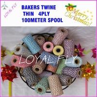 40pcs/lot Double color cotton twine thin 4ply 100m/spool,bakers twine,cotton color twine 22 kinds color wholesales