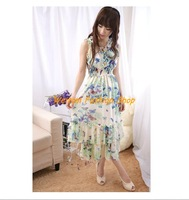 2013 hot sell Slim was thin lotus lace butterfly bohemian beach dress chiffon dress for women free shipping