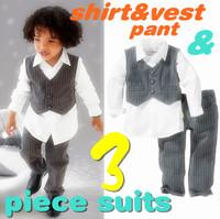 hot selling spring autumn new Children's clothing sets boys gentleman suits set shirt/vest/pant 3-piece boy suits 8yrs