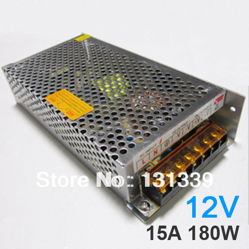 DC12V 15A 180W Power Adatper / Power supply for LED strip led module, 1pc/lot free shipping(China (Mainland))