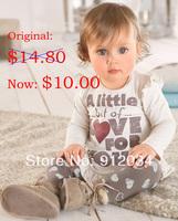 Retail girls spring clothing set toddler girl 2pcs set clothes long sleeve t-shirt + heart printed pants children's cotton suits