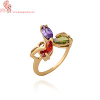 For Italina Korean Fashion delicate luxurious crystal ring plated 18k gold leaf female (KUNIU J1525)