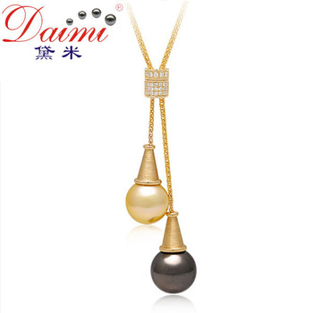 DAIMI Jewelry Gold Black Pearl Pendant,11-12mm18k Yellow Gold Diamond,High Customized Luxury Style