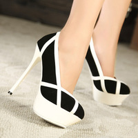 New Hot Splice European American Sexy Super High Heel Shoes For Women,Stiletto Pumps White&Pink X529