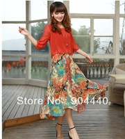 DB761 Free shipping  2013 Summer New Chiffon Dress Fake GeDi Two Floral Dress Bohemian Dress Europe  Stage Costumes For Singers