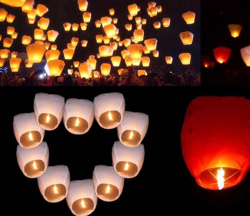Hot sale Chineses Lantern Sky Lanterns Kongming Lantern Flying Wishing Lamp Wedding Party Paper Lights(10pcs/lot)(China (Mainland))