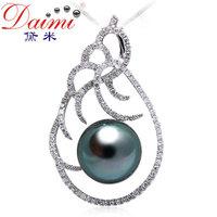 DAIMI Tahitian Pearls PenHigh Customized Luxury Style 11-12MM Natural Black,18k Diamond,Fantastic