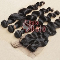 Mix length 3pcs/lot Brazilian loose wave virgin hair +1pc Middle part lace closure 1B color,free shipping
