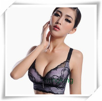 Aromatherapy Oils Massage A/B Cup Sexy Deep V Bras For Women,Adjustable Straps Back Closure Lace Black Woman Brassiere Underwear