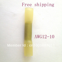 12-10 AWG Splice butt Heat Shrink Tube Terminal,Cold pressed terminal Yellow