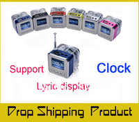 Portable TT029 Mini TF Micro SD USB Disk LCD Speaker FM Radio Music MP3 Player LED Crystal Light Speakers, Alarm Clock