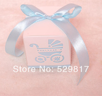 Free Shipping Lovely 100pcs/lot light blue Wedding favor paper box favour gift candy boxes  for baby shower