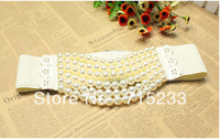 Fashion pearl belt women's cronyism 2013 summer all-match belt decoration wide cummerbund  free shipping
