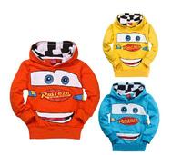 2014 autumn cute design car pullover hooded sweatshirt jacket children kids toddler boys girls orange blue hoodies For Little