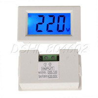 White Digital Blue LCD Volt Voltage Meter AC80-500V 3 Digits Voltmeter
