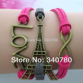 Trendy Faith bracelet The Eiffel Tower bracelet infinity love charm bracelet fashion handmade bracelet /lot BR668