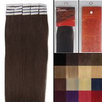 "Free Shipping Vairous Color 20"" Skin Weft Remy Straigt Human Hair Extensions #02 dark brown 50g"