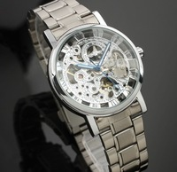 Free shipping New Automatic Mechanical Skeleton watches Black Leather Wrist Silver Auto Men's Watch