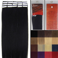 "Free Shipping Vairous Color Staight 22"" Skin Weft Remy Human Hair Extensions #01 jet black 60 g & 20 pieces"