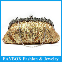 Fashion women crystal luxury paillette long chain handbag lady party wedding clutch evening bridal bag