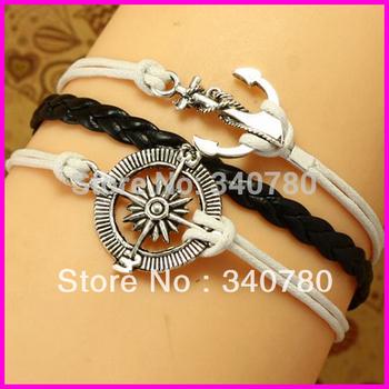 New Bracelet Nautical Bracelet Anchor and Compass Bracelet Antique sliver Wax Cords and Leather Bracelet lot free shipping