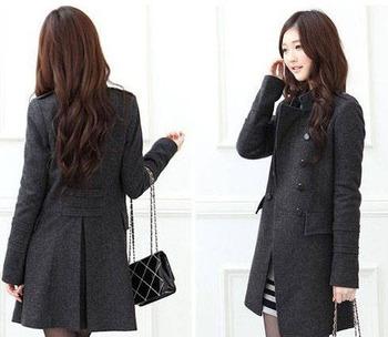 Корейский издание стоять воротник двубортные тонкий женские зимние пальто Бесплатная ...