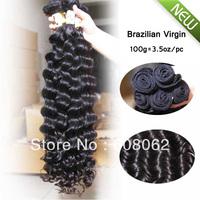 "Fast shipping 100% virgin Brazilian hair extension 12""-28"" 3.5oz/boundle  3pcs lot  Deep Wave 100% brazilian curly hair"