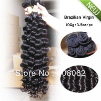 "Fast shipping 100% virgin Brazilian hair extension 12""-28"" 3.5oz/boundle  3pcs lot  Deep Wave 100% brazilian curly hair"