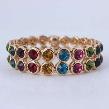 Free Shipping New Vintage Fashion Hot selling KC Gold Plated Multi-colored Crystal Magnetic Bangle For Women Wholesale