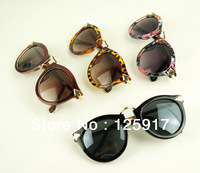 Free Shipping 2014 Fashion Big Arrows Pink Women Sunglasses Retro Leopard Print Sunglasses KW Brand Vintage Style Sungalsses