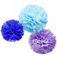 "[Free shipping] 10pcs/lot  10""(=25cm) White Tissue Paper Pom Poms Wholesale for Wedding Decoration  Other Solid Colors welcome"