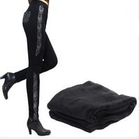 Free Shipping Women 2014  Autumn Wintet Thickening plus size lace patchwork skinny legging ,boot pants plus size XL 2XL 2XL 4XL