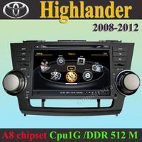 Car DVD Player GPS navigation Radio Toyota Highlander 2008 - 2012 +3G WIFI + CPU 1GMHZ + DDR 512M + v-20 Disc + DVR + A8 Chipset