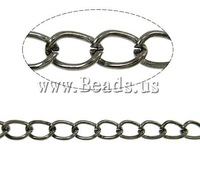Free shipping!!!Iron Twist Oval Chain,promotion, plumbum black color plated, nickel, lead & cadmium free, 6x4.40x0.90mm