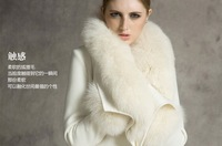 FREE SHIPPING!!!white fur coat Women's black/white New Style the fox wool cashmere fur coat lapels  A117